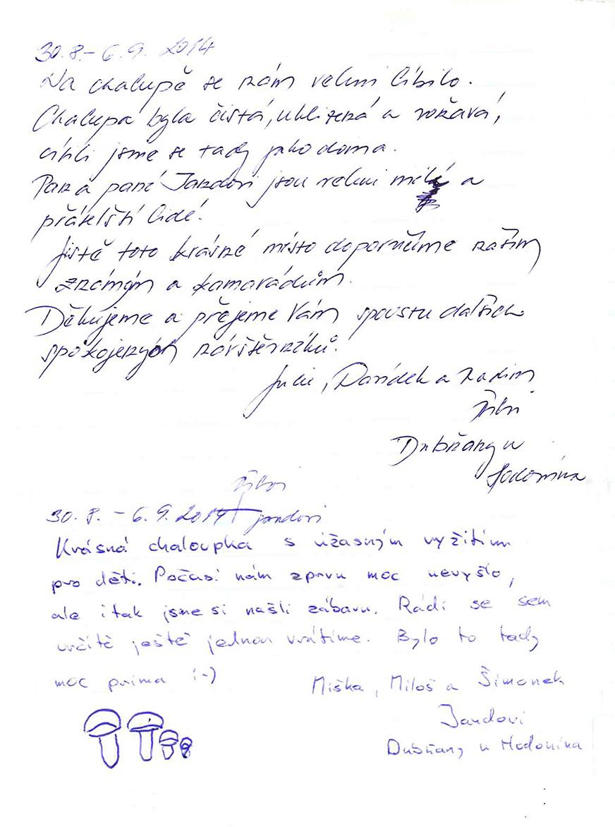 jandova chalupa reference 2014